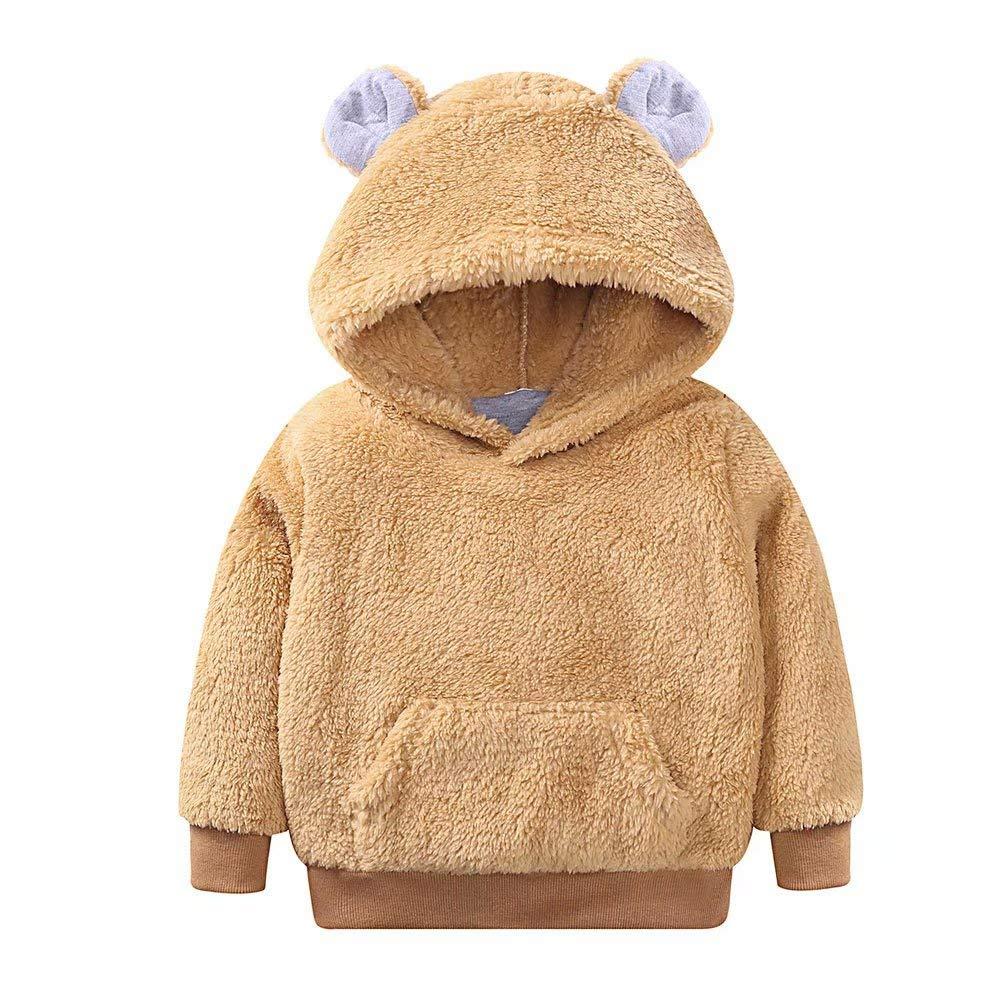 Zerototens Toddler Baby Boys Girls Coat Autumn Winter Hooded Coat Kids Fleece Jacket Cartoon Bear Print Outwear Thick Warm Clothes 0-4 Years Old