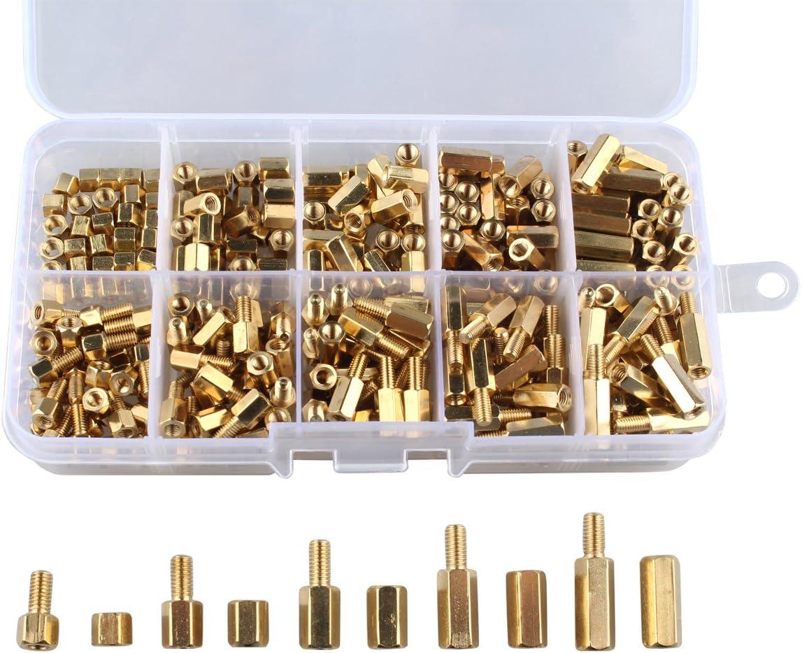 100 piezas estante tuerca latón hexagonal hembra espaciador M 3 x 12 M3 12 mm