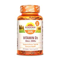 Vitamin D by Sundown, Supports Immune, Bone & Teeth, D3 Softgels, Non-GMOˆ, Free of Gluten, Dairy, Artificial Flavors, 2000 IU, Value Size, 350 count