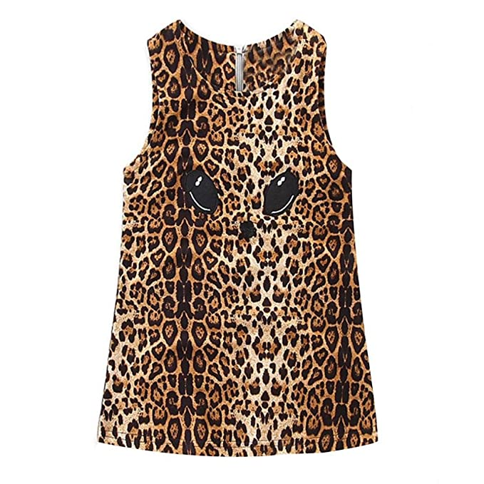 3ba3507f4 Witspace Lovely Baby Girls Outfit Kids Cat Leopard Print Dress Toddler  Shirt Clothes (0-