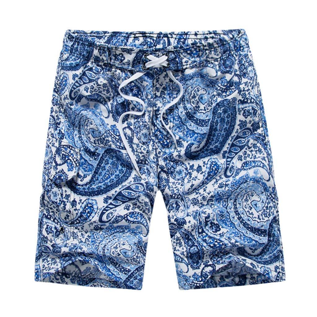 Linen Beach Shorts for Men, Beach Shorts for Men XXXL,Beach Mens Shorts,Men's Casual Ethnic Style Printing Beach Surfing Swimming Loose Short Pants