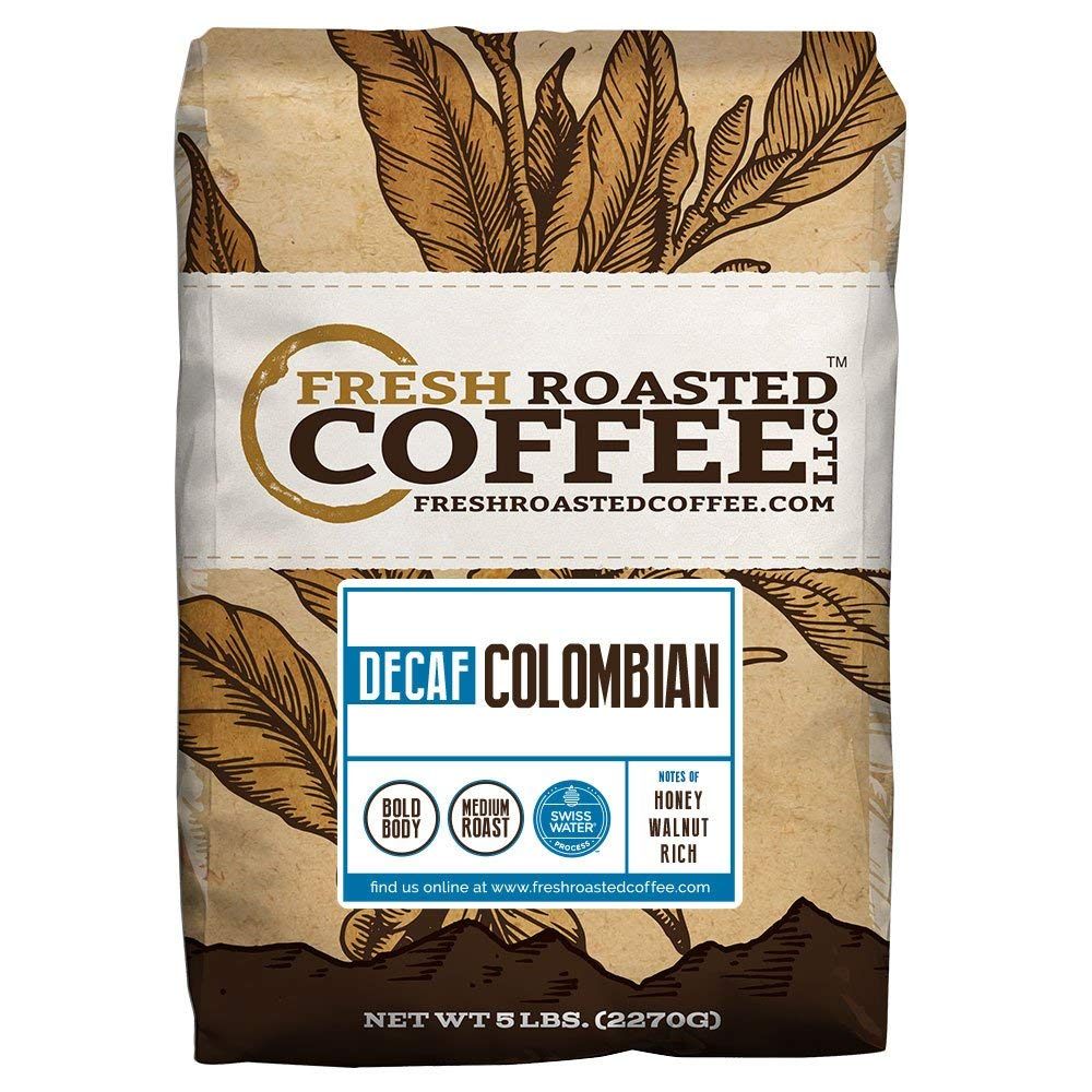 100% Colombian SWP Decaf Coffee, Whole Bean, Swiss Water Processed Decaf Coffee, Fresh Roasted Coffee LLC. (5 lb.)