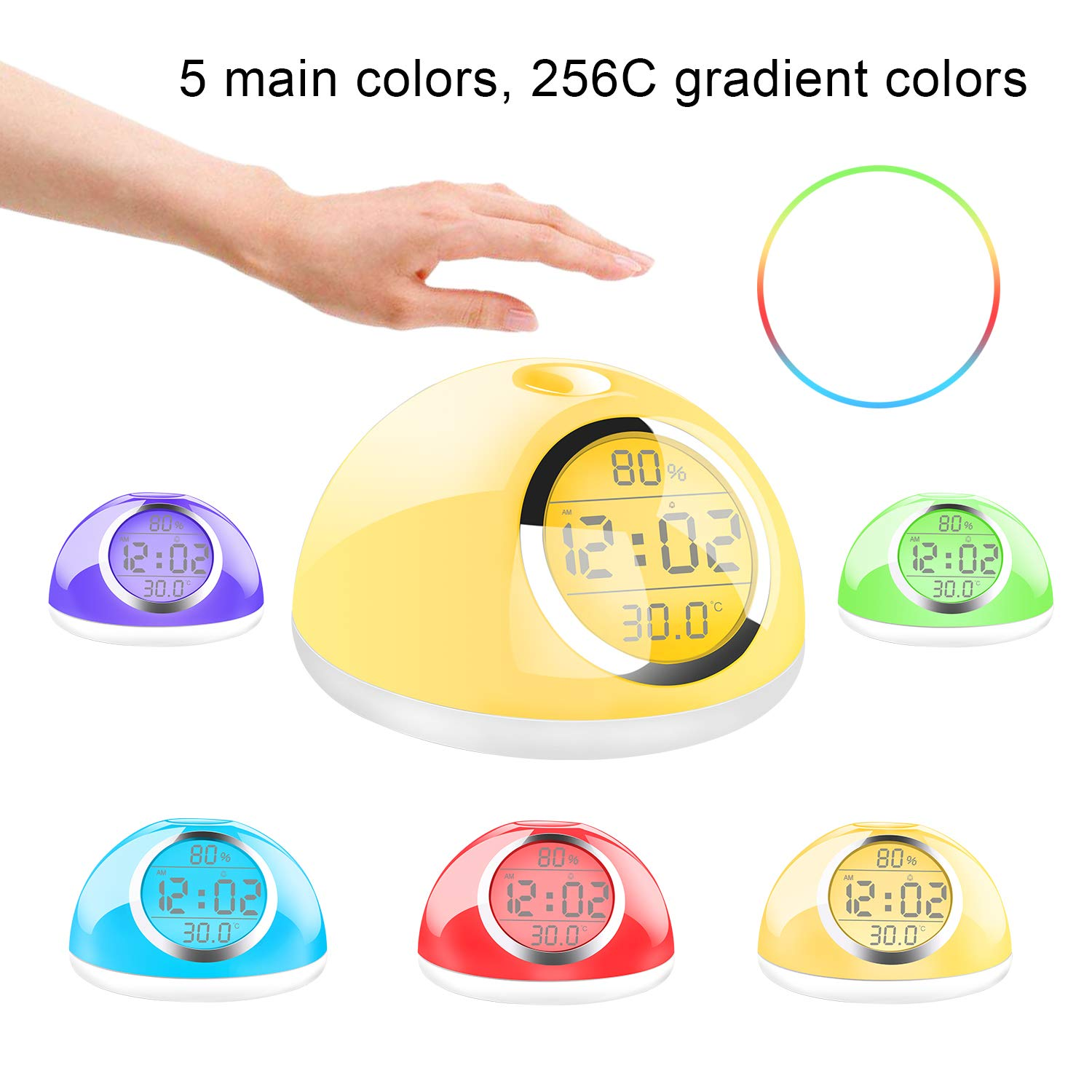 Sunrise Wake-up light alarm clock, Kids alarm clock, Heavy Sleepers alarm clock, gesture-sensing 5 main lights gradually change, three-stage piano music alarm, snooze function, Bedroom, Students alarm