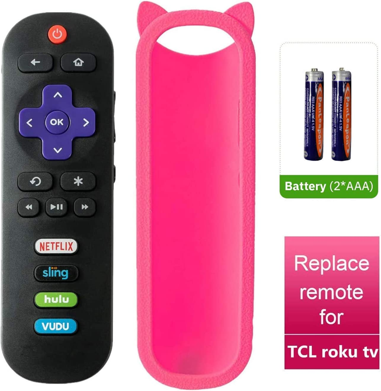 Bedycoon Remote Control and Pink Remote Cover Compatible with TCL Roku TV 55UP120 55us57 55S401 49S405 65S405 65s401 55s405 32S3850 32S3700 40FS3800 32S3800 2017 2018 TCL TV,and Batteries