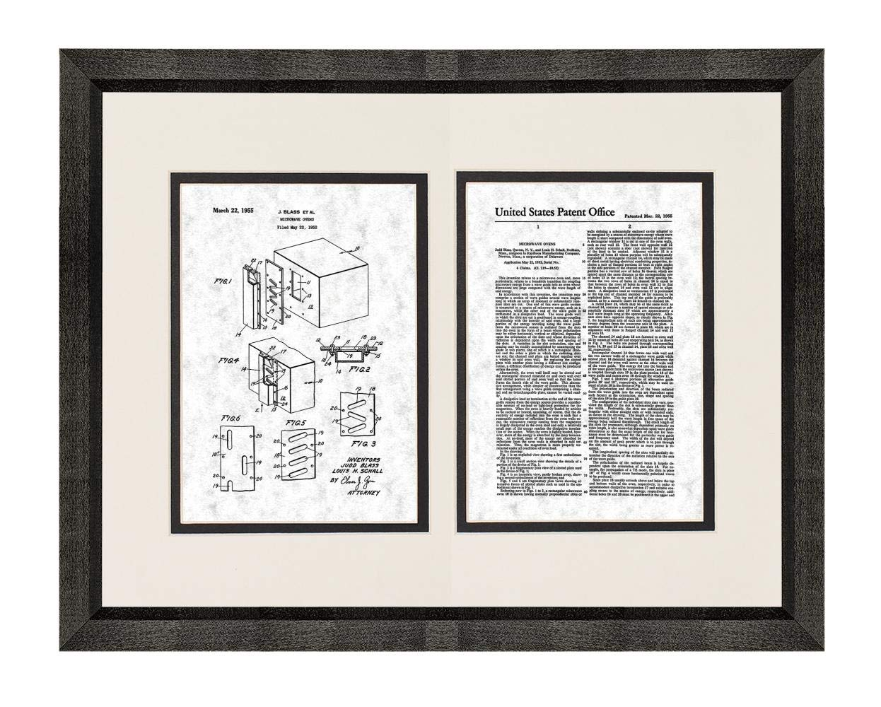 """Microwave Oven Patent Art Gunmetal Print in a Beveled Black Wood Frame with a Double Mat (18"""" x 24"""") M15866"""