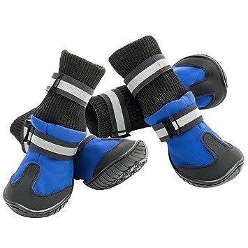 Enjoygoeu 4pcs Calzados Zapatos de Mascotas Botas Calcetines Impermeables Antideslizantes Botines Nieve Agua Lluvia Protector de La Pata para Perros ...