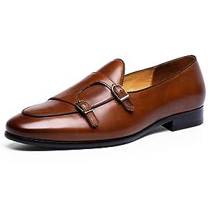 [フォクスセンス] ビジネスシューズ 本革 ローファート 革靴 紳士靴 メンズ ドレスシューズ モンクストラップ ブラウン 24.5CM 6916-12