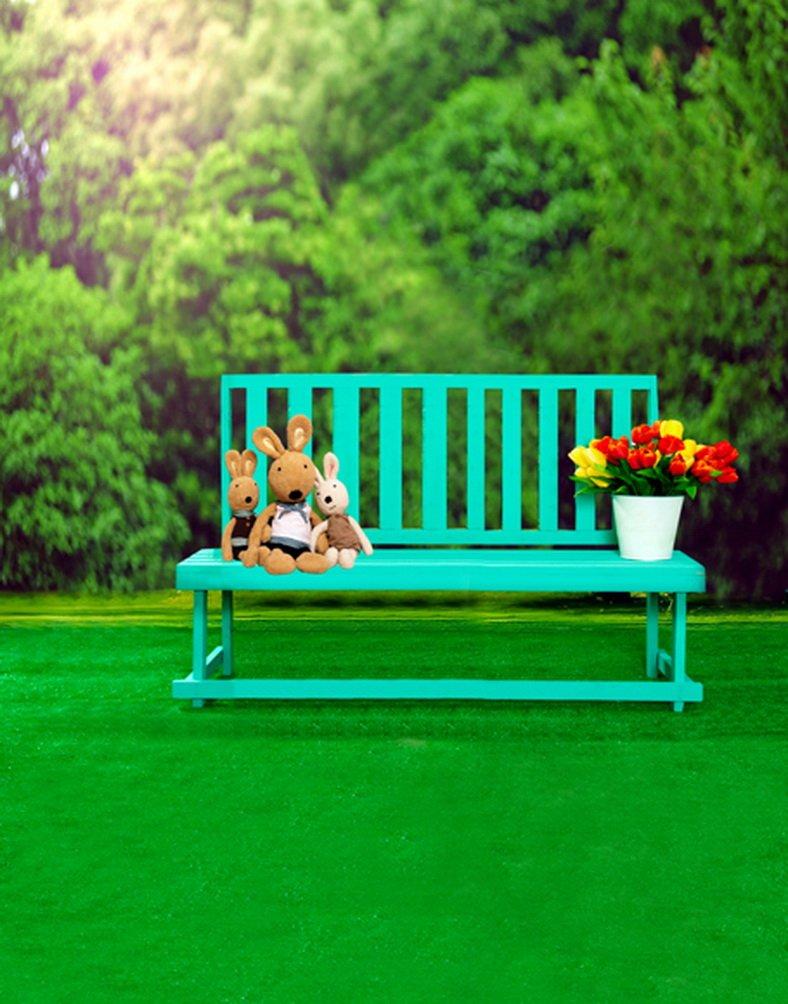 5 x 7ft Green Grass Tree椅子Cute Rabbit写真背景computer-printedビニールBackdrops   B01JZO2GA8