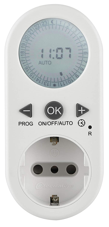 Presa Schuko Bianco 10A Programmi Settimanali e Giornalieri Electraline 58112 Programmatore Timer Digitale Spina Italiana piccola 10 A
