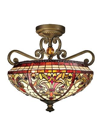 Dale Tiffany TH13090 Baroque Semi Flush Mount Light Fixture, Antique Golden  Sand