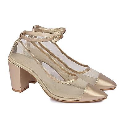 d9e7653ed7f0 SkoSti Golden Color Net Block Heel Sandals for Women/Girls: Buy ...