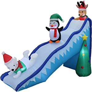 BZB Goods 9 Foot Long Christmas Inflatable Penguin Reindeer Polar Bear Christmas Tree Fun Trio Slide Scene Decor Outdoor Indoor Holiday Decorations, Blow Up Lighted Yard Giant Home Lawn Inflatable