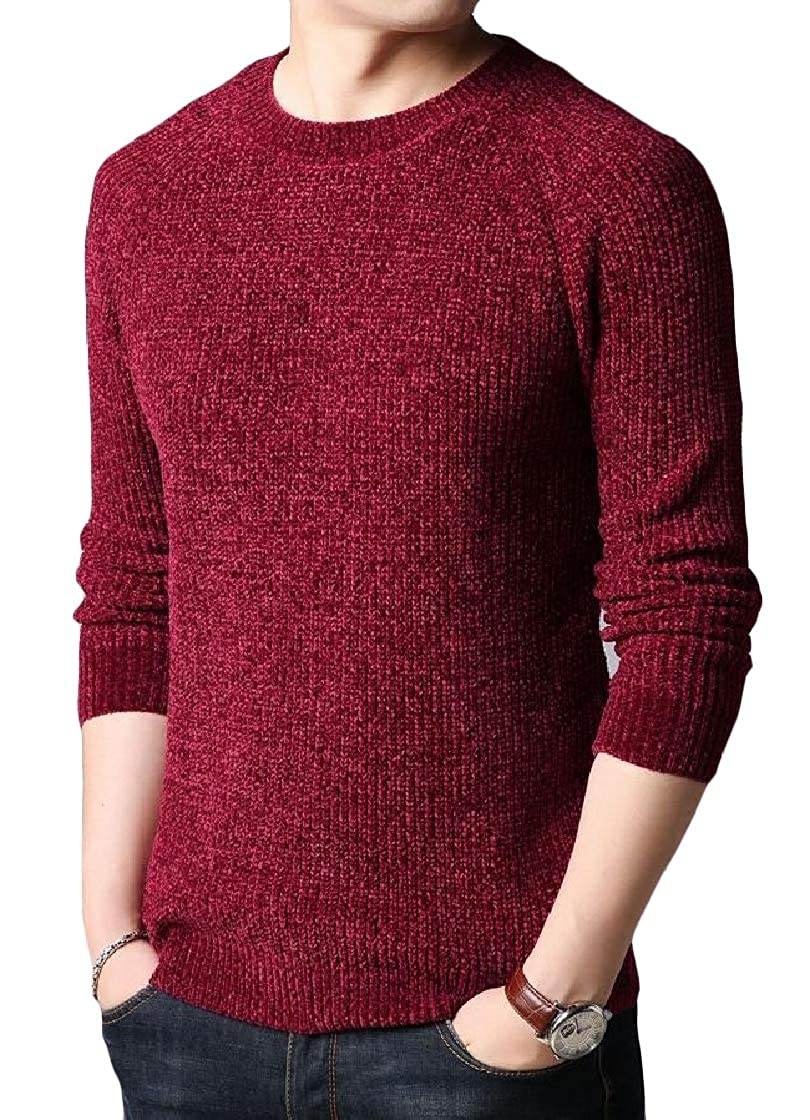 YUNY Mens Crewneck Long-Sleeve Knitting Solid Fit Warm Sweater Top Red S
