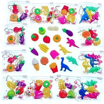 JZK 64 x Mini Gomas borrar Vegetal Pastel Fruta Dinosaurio Novedad Borrador lápiz Juguete Goma para niños cumpleaños favorece obsequios Relleno Bolsas ...