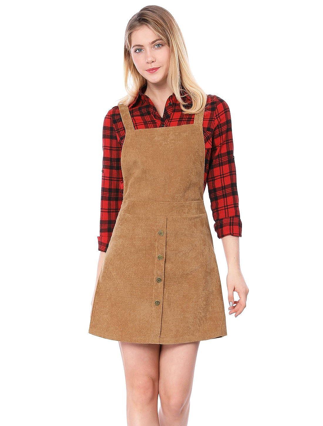 Allegra K Women's Corduroy Button Decor A Line Suspender Overall Skirt Dress s18040900it0783