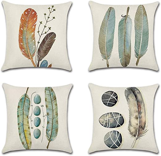 """Cotton Blend Linen 18/""""x18/"""" Square Throw Pillow Case Sofa Cushion Cover 3 Feather"""