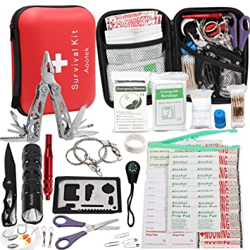 Upgraded 188 Pcs First Aid Kit Survival KitEmergency Earthquake Trauma Bag