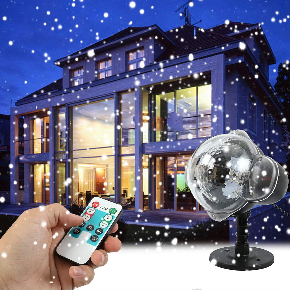 Hootecheu Christmas Projector Light LED Snow Remote Control Falling Night Lights White Snowflake Flurries Rotating Snowfall Spotlight Outdoor Indoor Landscape Decorative
