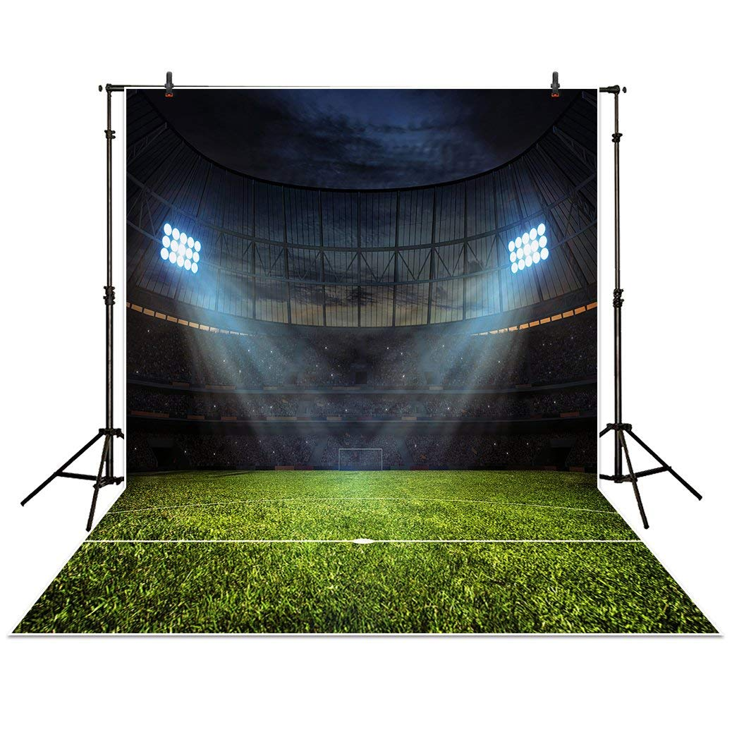 Funnytree 5x7ft Wrinkle Free Polyester Fabric Sports Stadium Field Photography Backdrop Football Soccer Court Spotlight Green Vintage Dawn Sky Background forPhoto Studio Booth Photocall