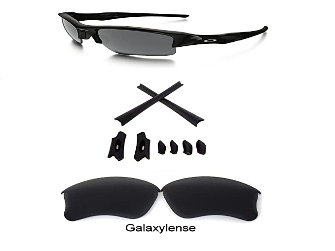 7cf226874f4 Image Unavailable. Image not available for. Color  Galaxy Replacement Lens  + Rubber Kits For Oakley Flak Jacket XLJ Sunglasses Black