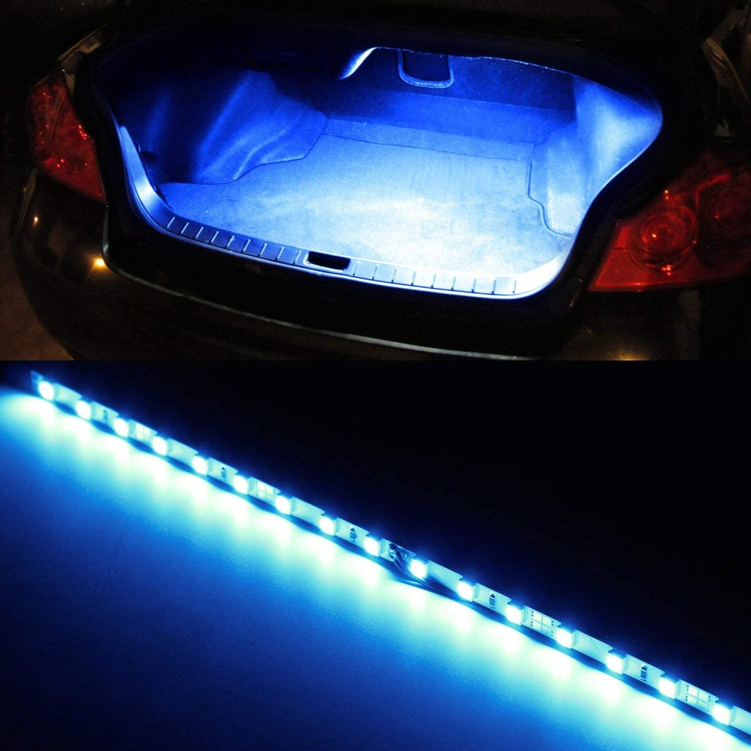 iJDMTOY (1) 18-SMD-5050 LED Strip Light Compatible With Car Trunk Cargo Area or Interior Illumination, Ultra Blue