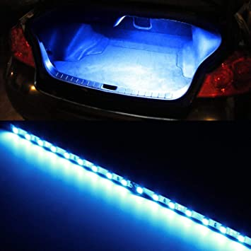 1 iJDMTOY Ultra Blue 18-SMD-5050 LED Strip Light For Car Trunk Cargo Area or Interior Illumination