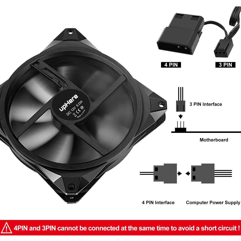 3 Pack Bleu upHere Double Halo 140mm LED Ventilateur de Boitier Silencieux 14CMB3-3