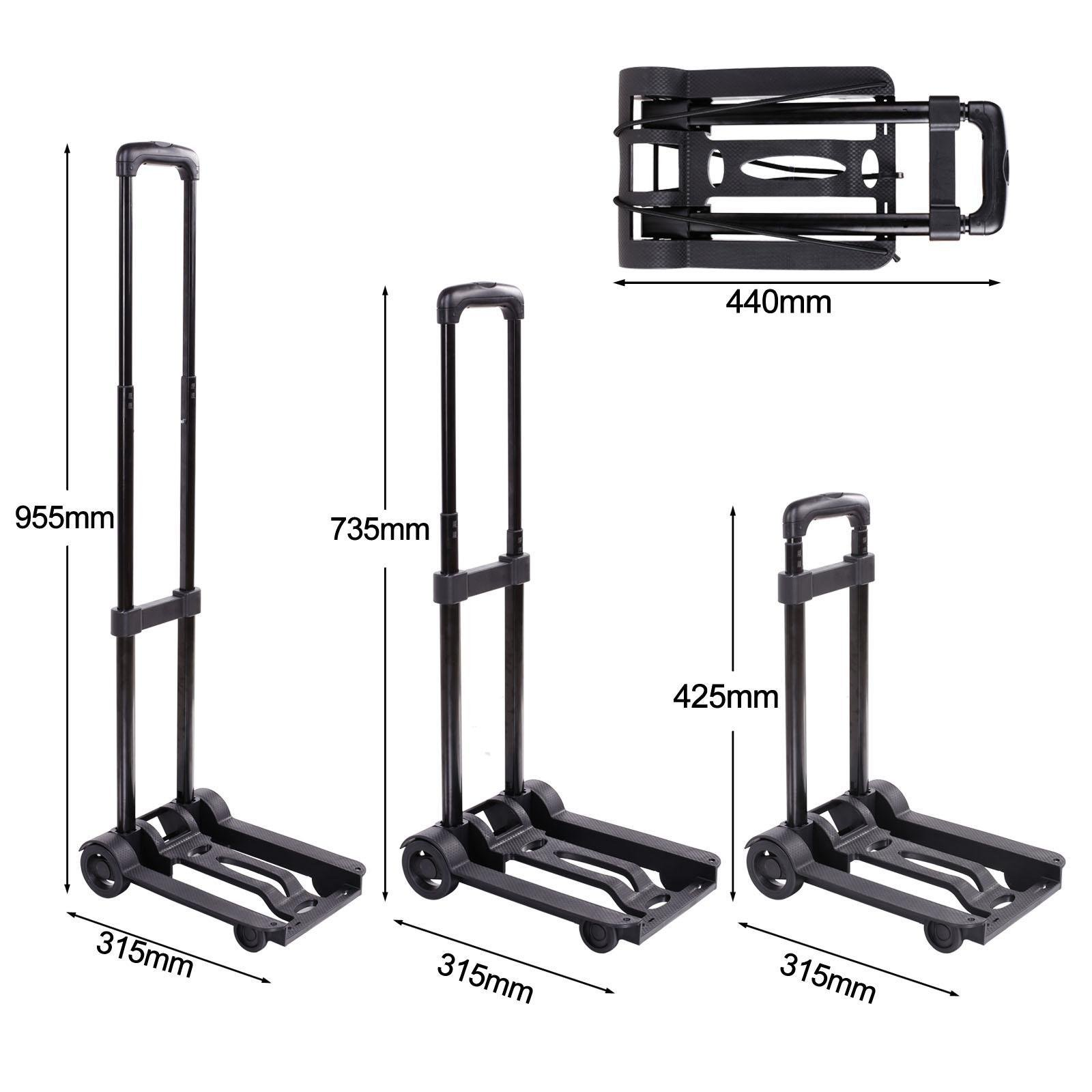 Folding Trolley Cart Portable Heavy Duty Collapsible Push Hand Truck Luggage Flatbed Dolly Cart