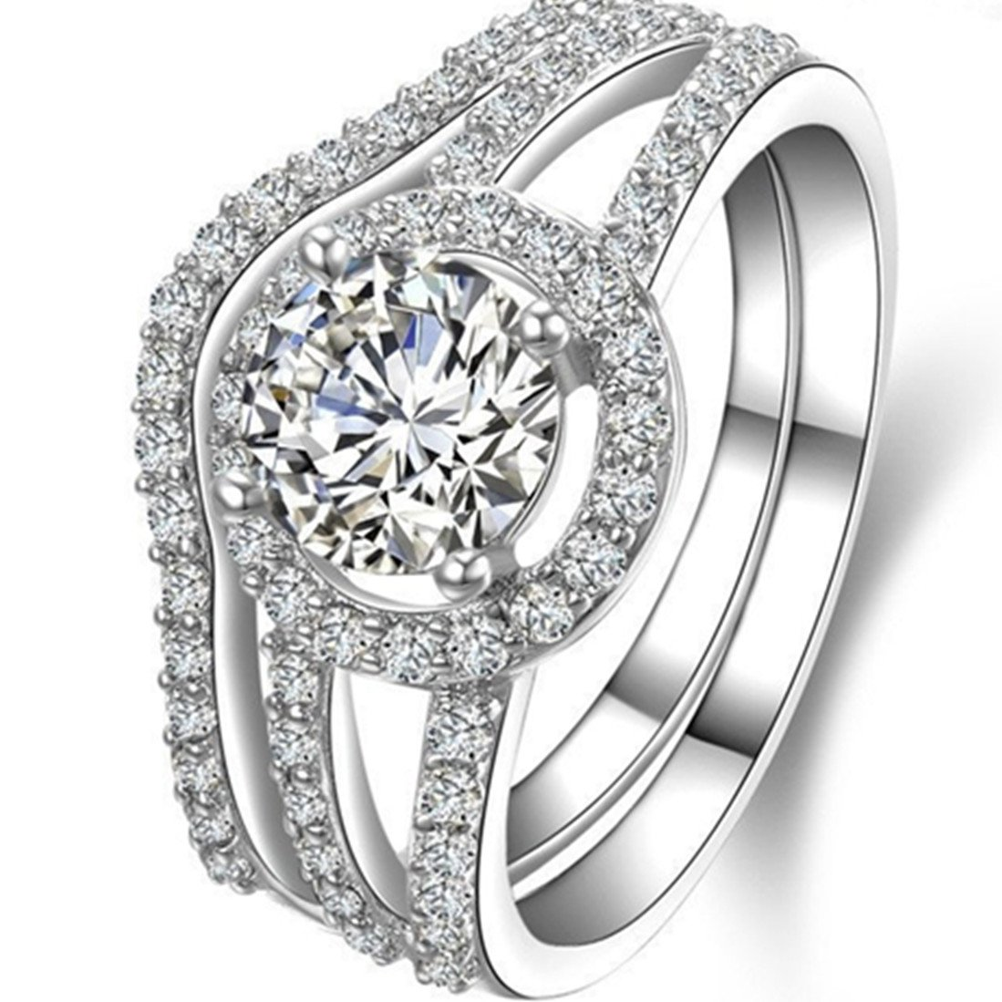 Sterling Silver 2CT Engagement Ring NSCD Simulated Diamond Round Wedding Rings Set for Women
