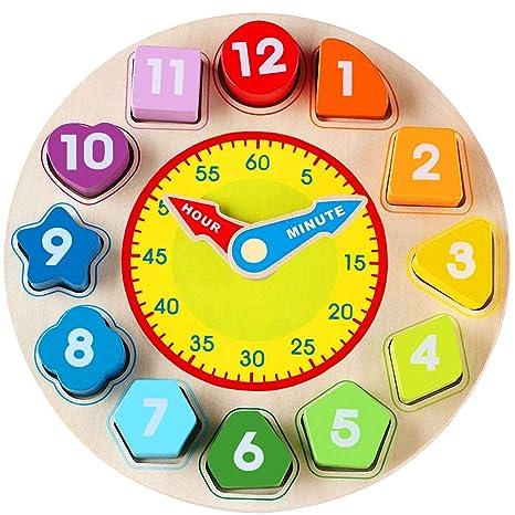 Jacootoys - Juego Educativo de Juguete con Forma de Reloj de Madera con número y Forma