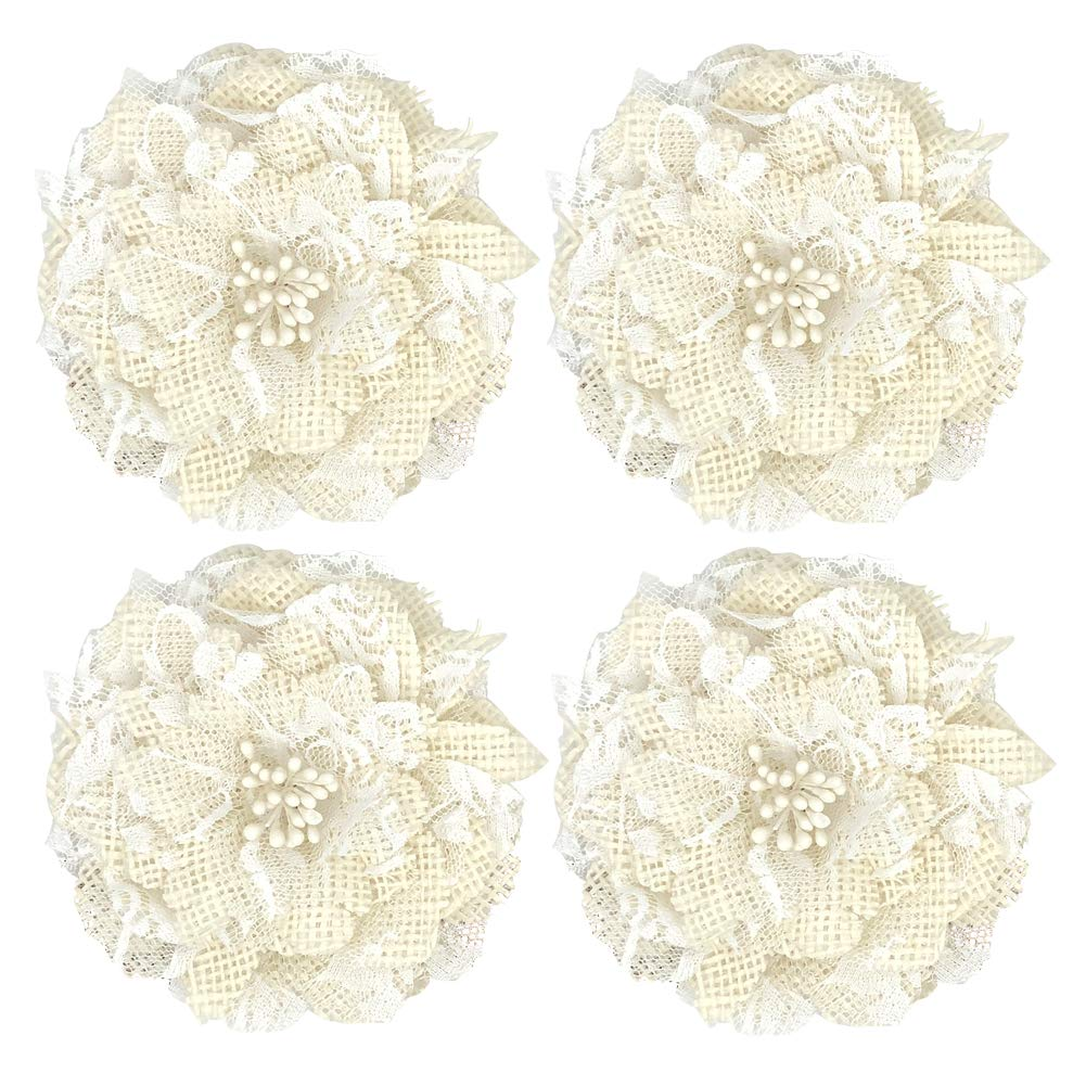 12pcs Natural Handmade Burlap Flowers Rustic Lace Rose for DIY Craft Wedding Decoration(item23) AIYAO