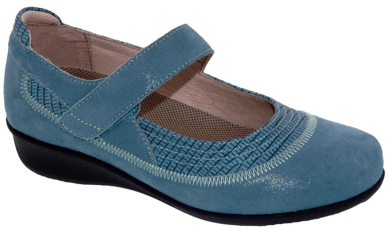 Drew Shoe Genoa 14316 Women's Casual Shoe Leather Velcro B07DQTCGNJ 6 2A(N) US|Blue/Microdot