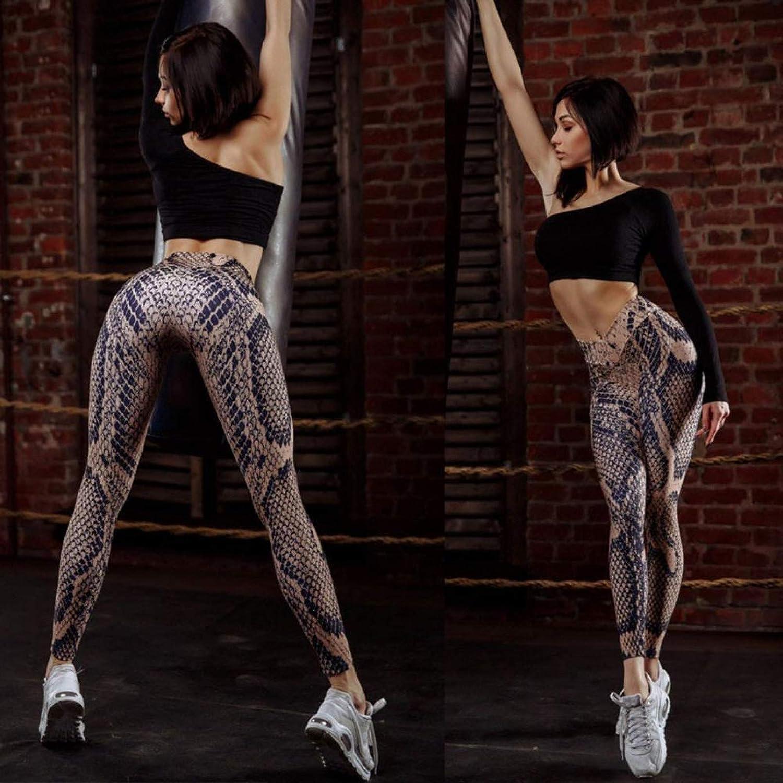 Leggings de Yoga con Estampado de pitón para Mujer Pantalones Deportivos para Entrenamiento físico Mallas para Correr Pantalones Ajustados elásticos con Push Up para Gimnasio