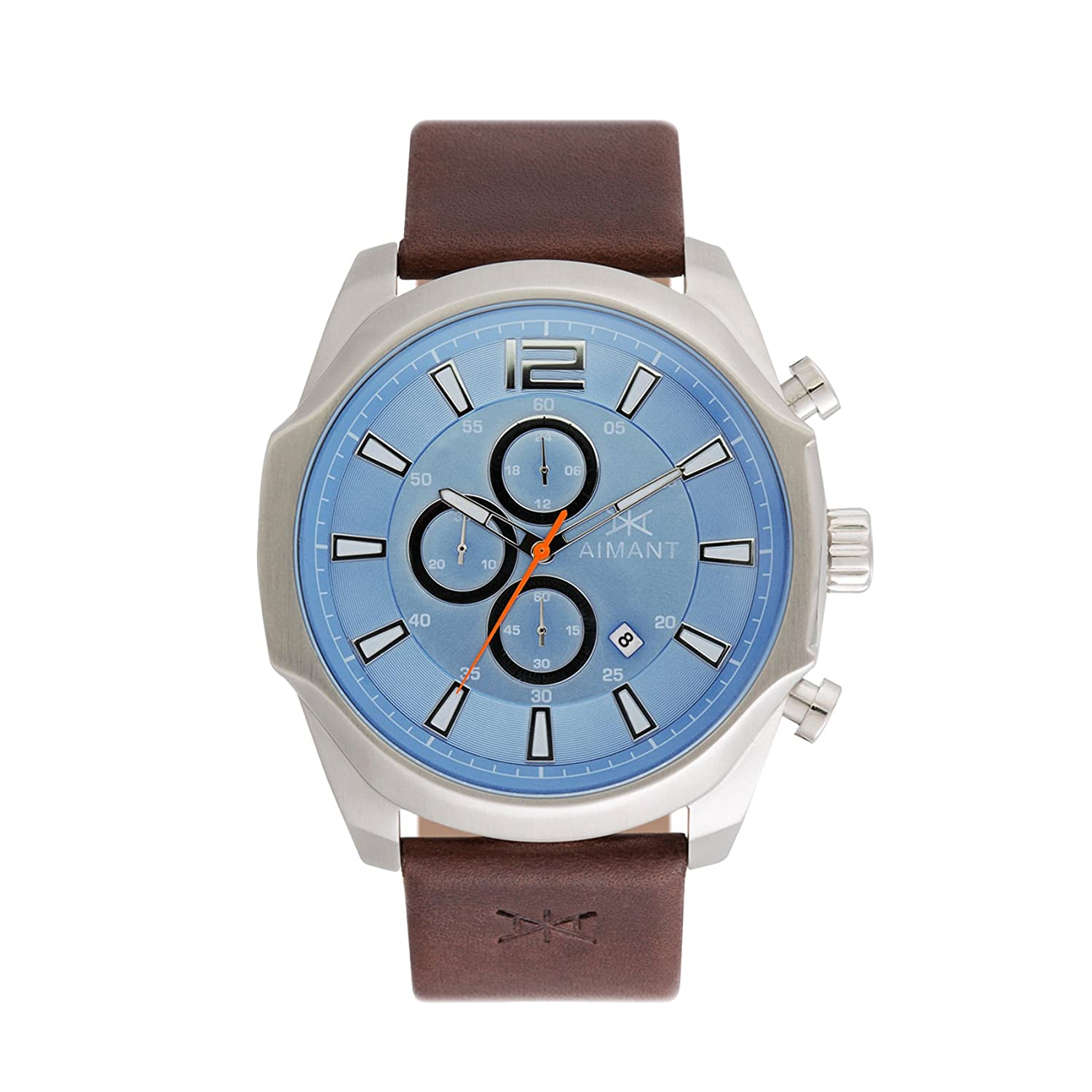 Amazon.com: AIMANT Mens Lyon Silver with Brown Leather Band Watch GLY-150L5-2S: Watches