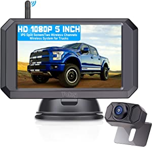 Yakry Y24 HD 1080P Digital Wireless Backup Camera System 5 Inch Monitor Hitch Rear View Camera for Trucks,Campers,Vans,Small RVs,Cars Front View Camera Guide Lines Settings IP69K Waterproof