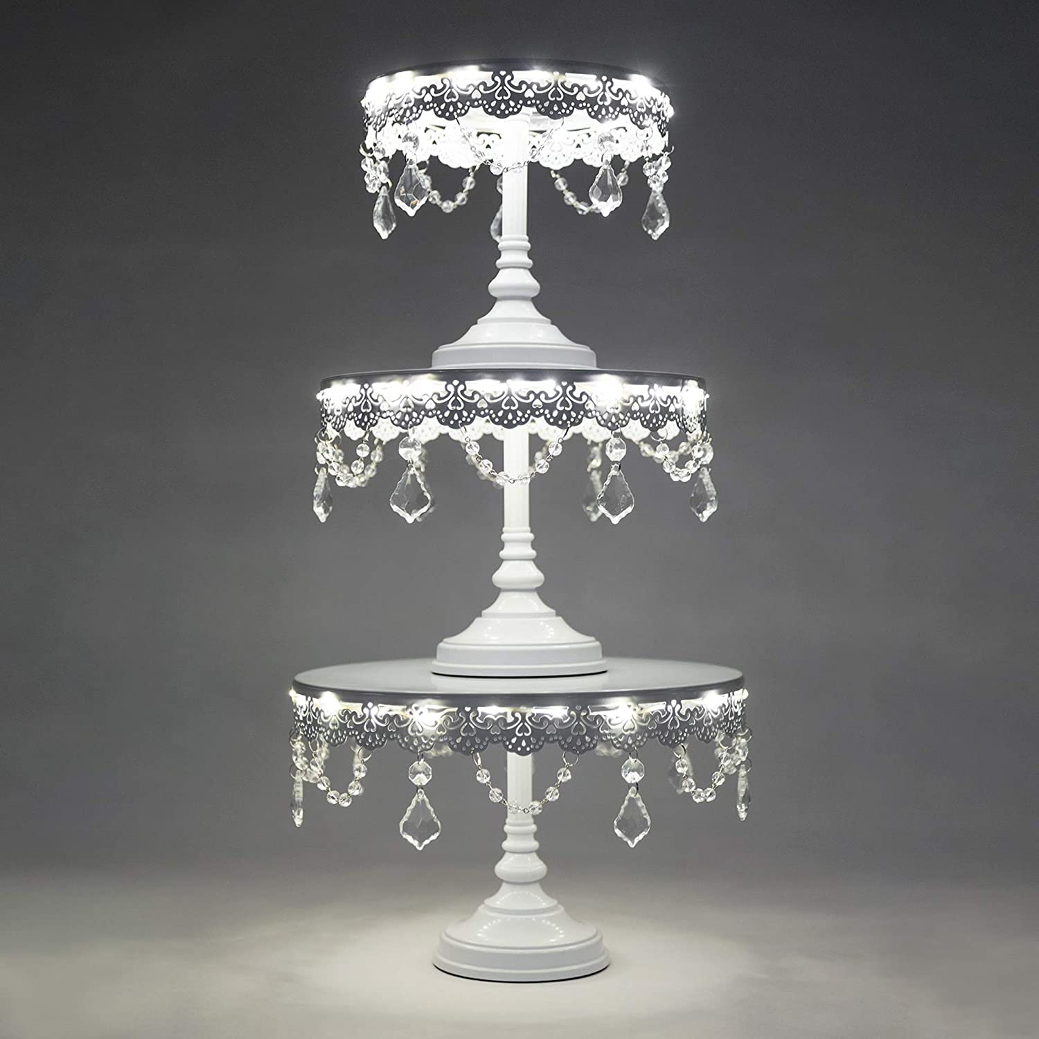 Aurora 3-Piece White Rechargeable LED Cake Stand Set, Round Metal Crystal Cupcake Dessert Display Pedestal Wedding Party Display, Chargers Included