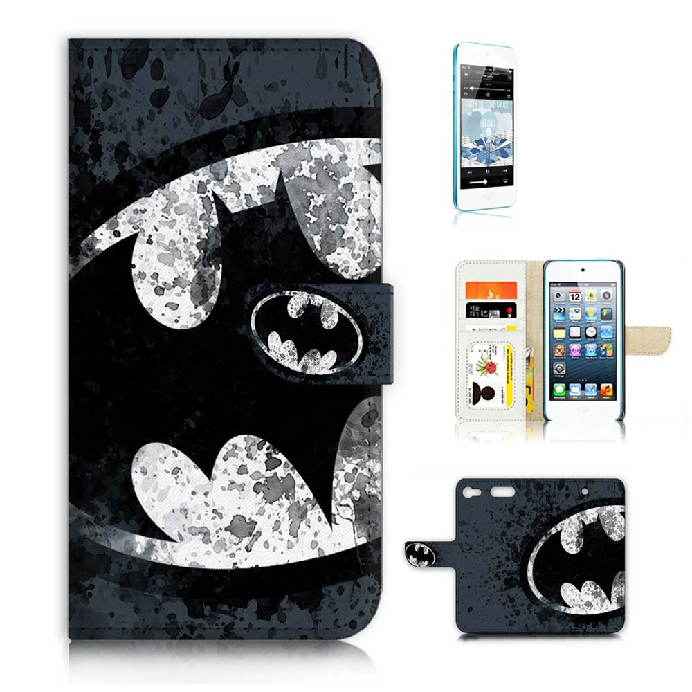 ( For iPod Touch 6 iTouch 6 ) Flip Wallet Case Cover & Screen Protector Bundle! A8183 Batman