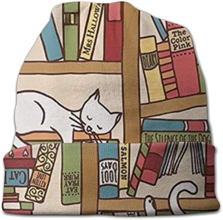 Chanwazibibiliu Nerd Book Lover Kitty Sleeping Over Bookshelf in Library Mens Colorful Dress Socks Funky Men Multicolored Pattern Fashionable Fun Crew Cotton Socks