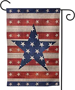 Patriotic American Garden Flag Outdoor Logo 12 x 18 Double-Sided Pentagram Welcome Summer Outdoor House Logo Banner Home