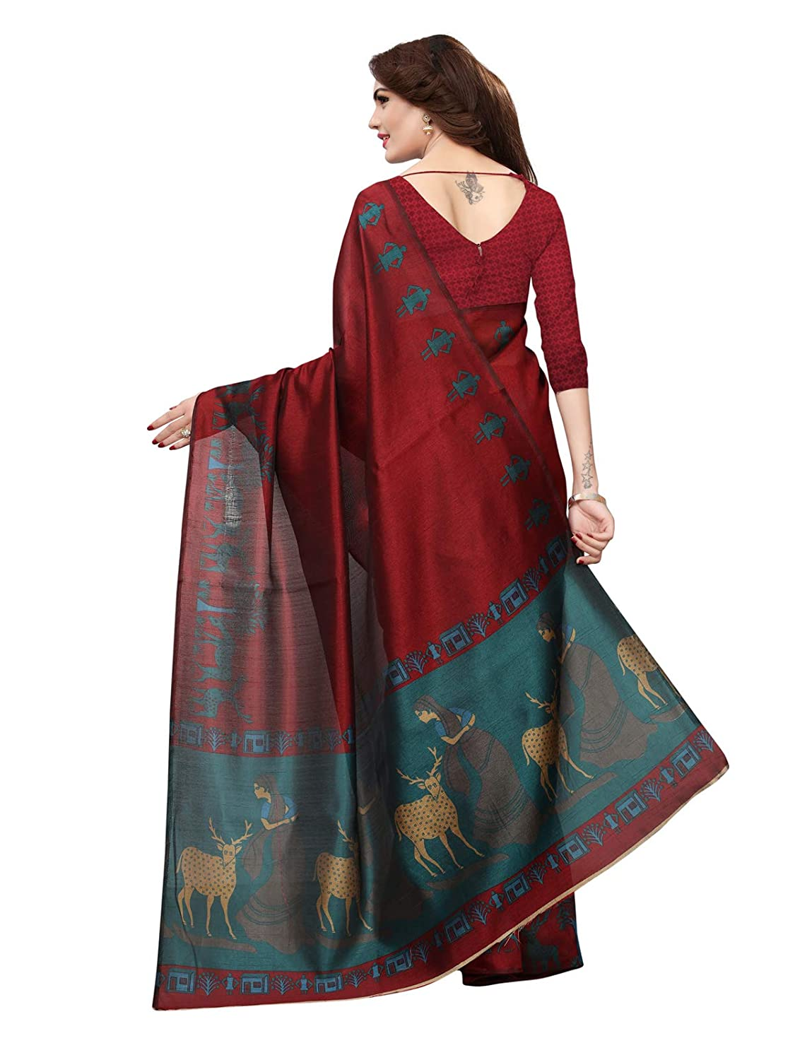Kanchnar Womens Art Silk Printed Saree with Unstitched Blouse