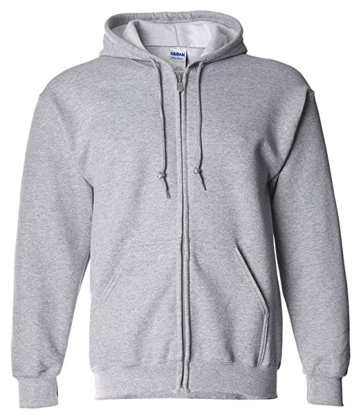 Gildan Dryblend Adult Full Zip Hooded Sweatshirt, Sport Grey