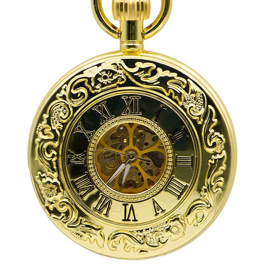 DYH&PW Full Gold Skeleton Pocket Watch Vintage Steampunk Necklace Chain Mechanical Hand Winding Fashion Gifts Men Women,A