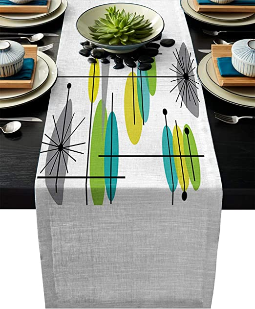 Amazon Com Cotton Linen Table Runner Dresser Scarves Mid Century Abstract Modern Design Multicolor Non Slip Burlap Rectangle Table Setting Decor For Wedding Party Holiday Dinner Home 13 Wide X 70 Long Home Kitchen