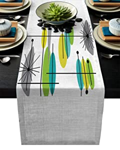 Cloud Dream Home Cotton Linen Table Runner Mid Century Green Yellow Gray Table Setting Decor Lotus Simple Abstract for Garden Wedding Parties Dinner Decoration - 13 x 90 inches
