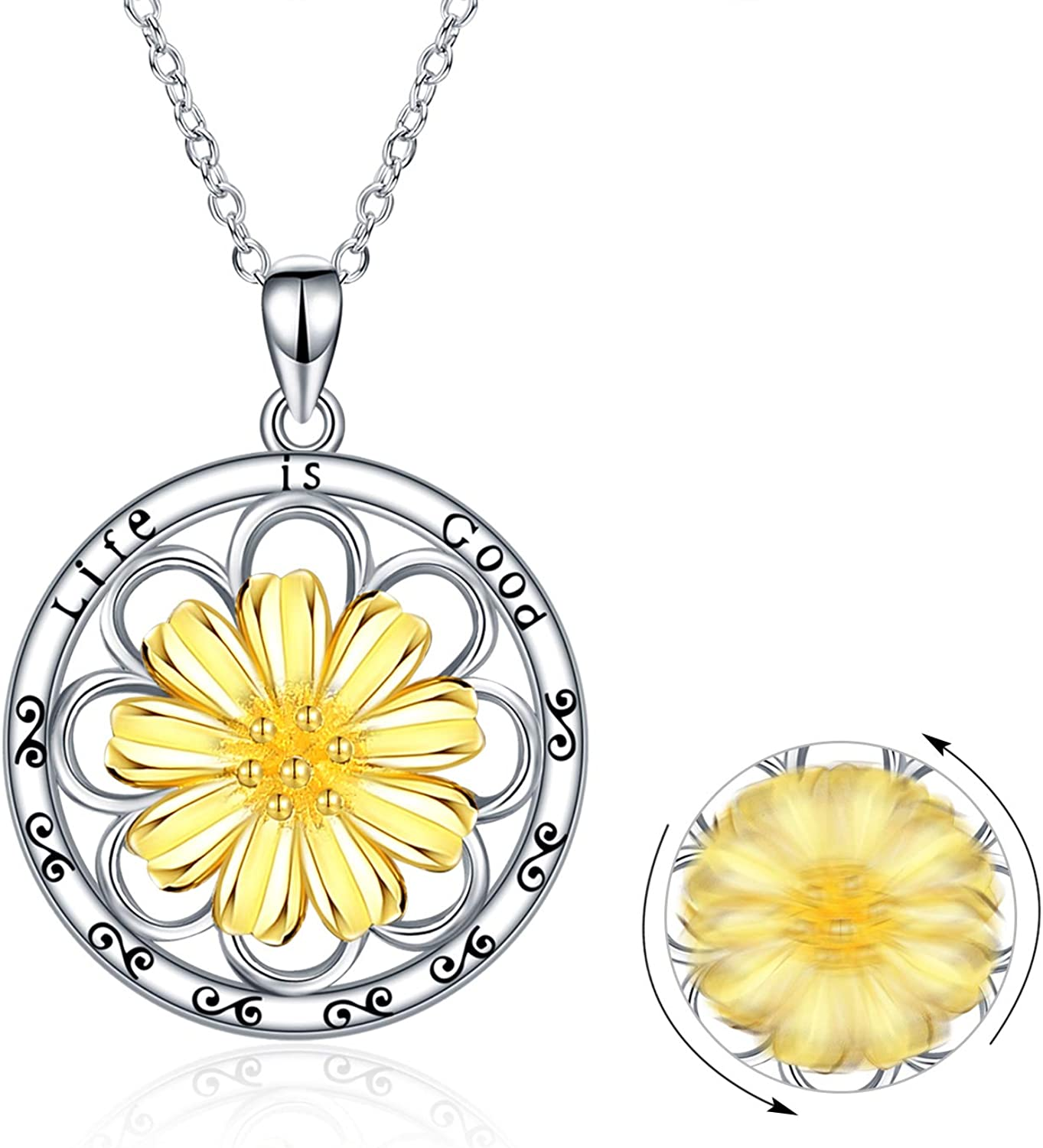 Personalized Name Necklace Hand Crafted Sterling Silver Daisy Flower Charm Necklace Mom of Two