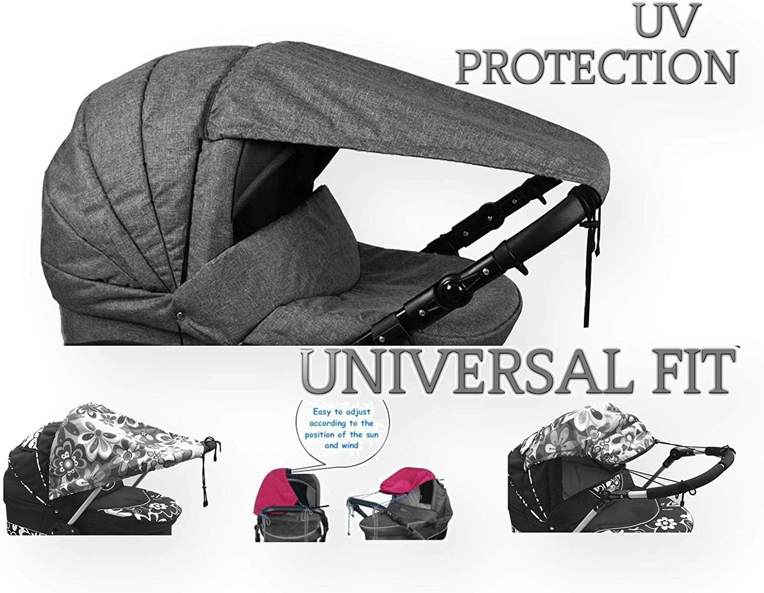 Blue Universal Baby Sunshade for Pram Pushchair and Buggy Stroller Sun Sail with UV Protection 50 OLOBABY Grey