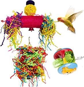 Hamiledyi 3 Pack Bird Shredder Toys Small Parrot Chewing Toys Parrot Cage Foraging Loofah Shredder Hanging Toy for Small Bird Parakeets Parrotlets Lovebirds Cockatiels