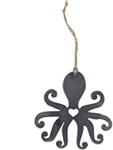 Ella Sussman Handcrafted Rustic Octopus Ocean Scuba Diving Heart Hanging Ornament Industrial Décor Rearview Car Made in The USA