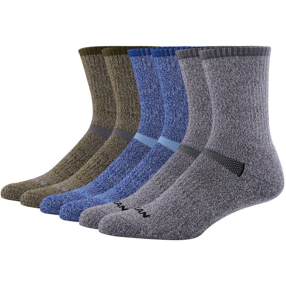 MK MEIKAN Merino Wool Hiking Socks, Premium Outdoor Trail Crew Mid Calf Cushioned Military Winter Socks for Men 6 Pairs, 2 Charcoal, 2 Navy Blue, 2 Army Green by MK MEIKAN