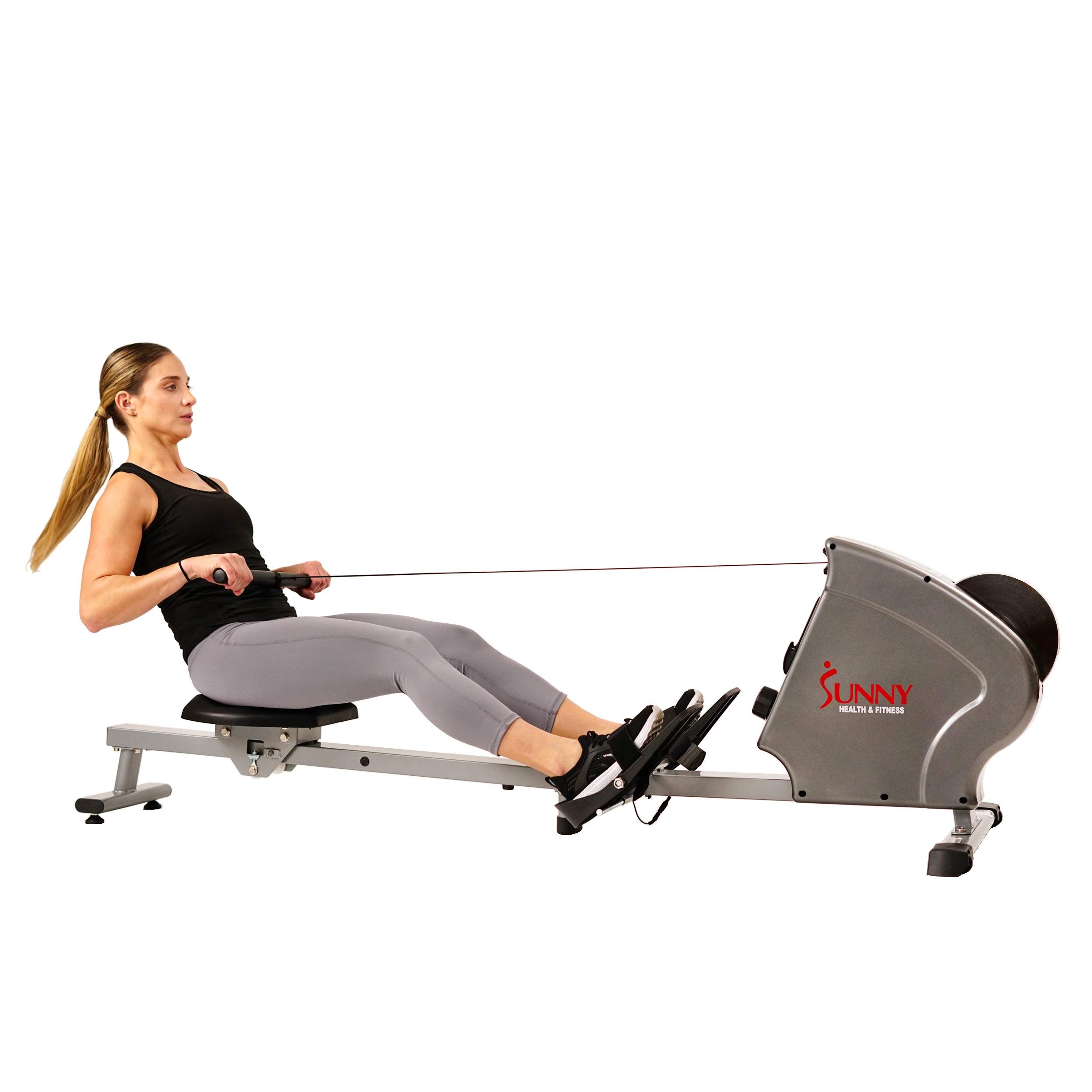 Sunny Health & Fitness SF-RW5856 Magnetic Rowing Machine Rower, 11 lb. Flywheel and LCD Monitor with Tablet Holder, Gray